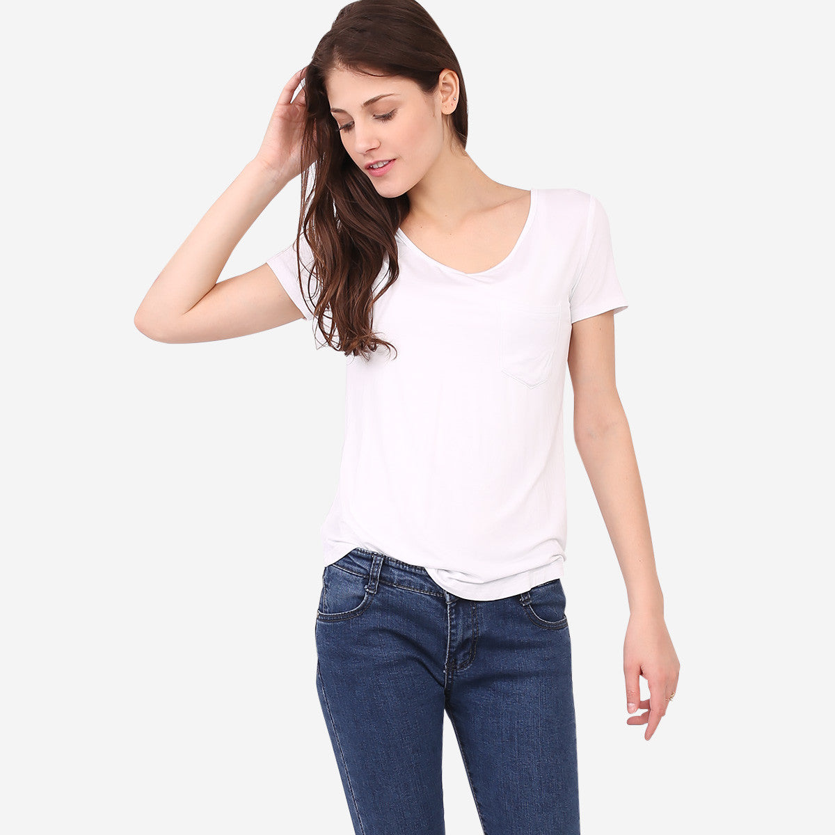 White Roundneck Pocket Tee