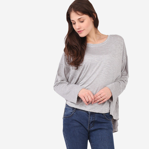 Grey Relaxed Knit Top with Seam Details
