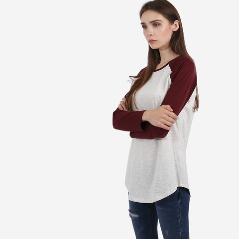 Maroon and Grey Hanna Raglan