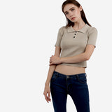 Light Brown Knitted Crop Tee