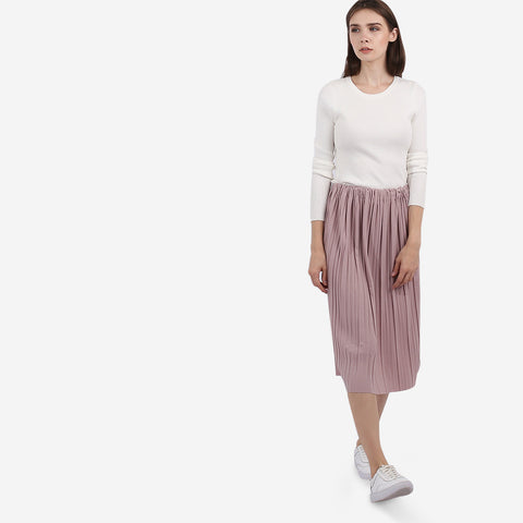 Dusty Pink Pleated Midi Skirt
