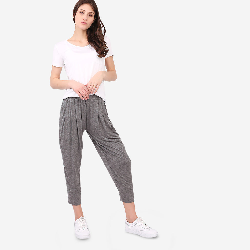 Grey Soft Jersey Relaxed Pants