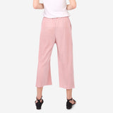 Pink Pleated Palazzo Trousers