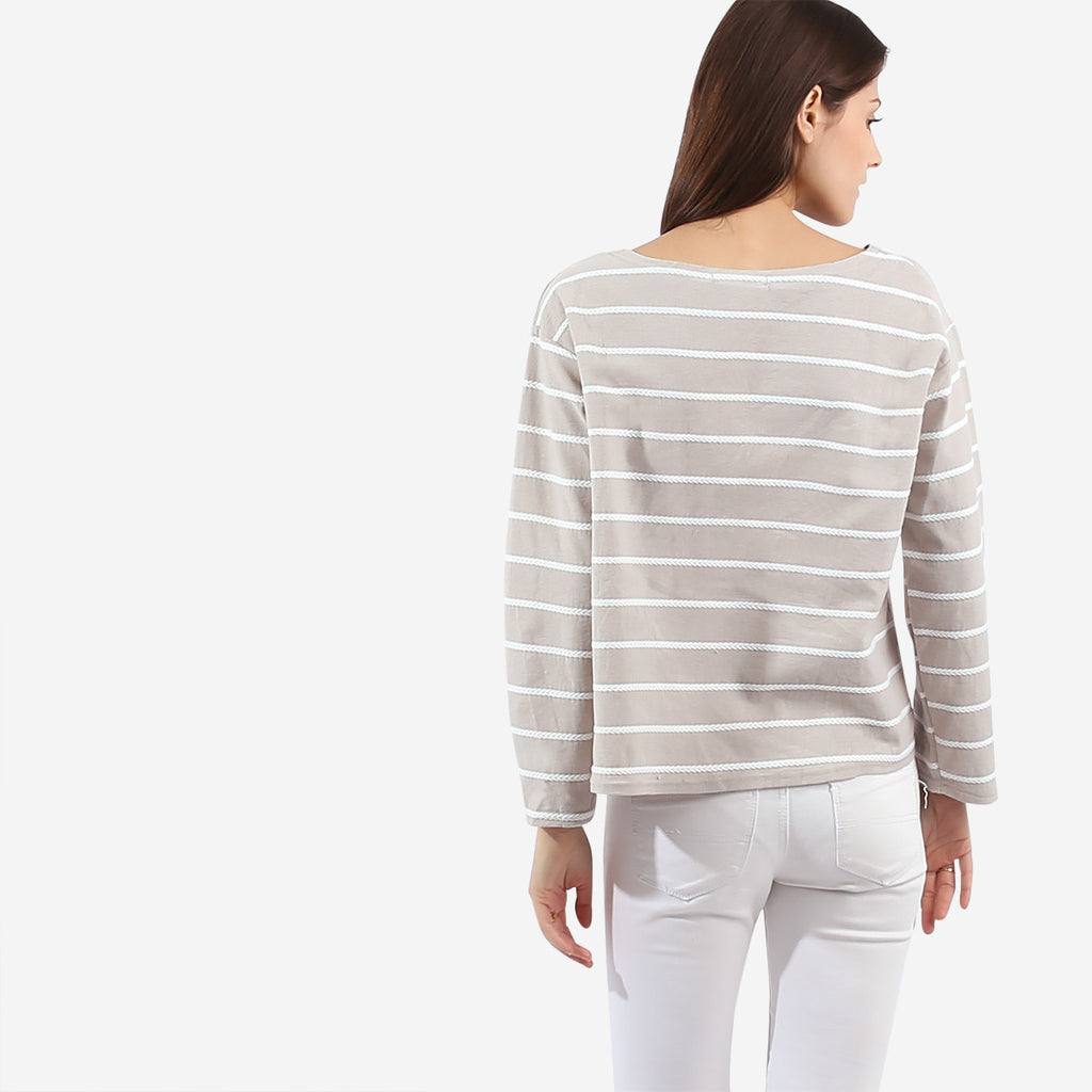 Taupe Texture Stripe Top