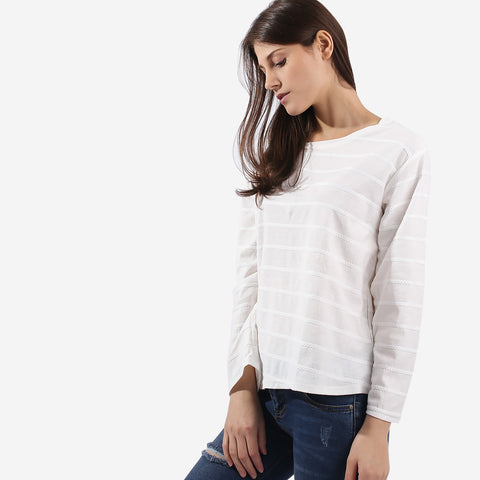 White Texture Stripe Top