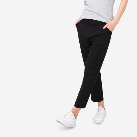 Black Tailored Straight Cut Pants