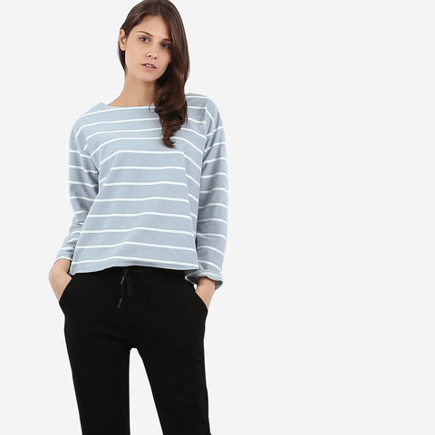 Blue Texture Stripe Top