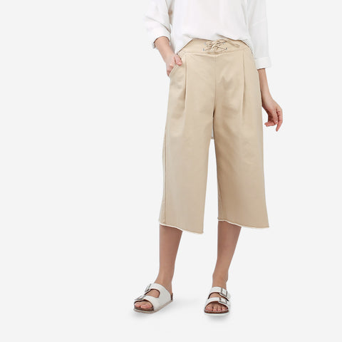 Brown Wide Leg Cropped Pant