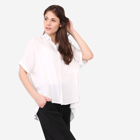 White Short Sleeve Relaxed Blouse