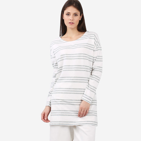 Grey Striped Tunic with Pockets