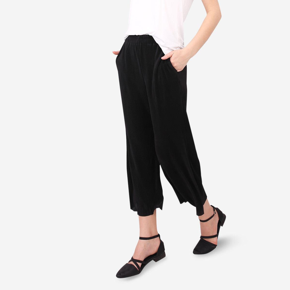 Black Pleated Palazzo Trousers