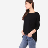 Black Loose Roundneck Top