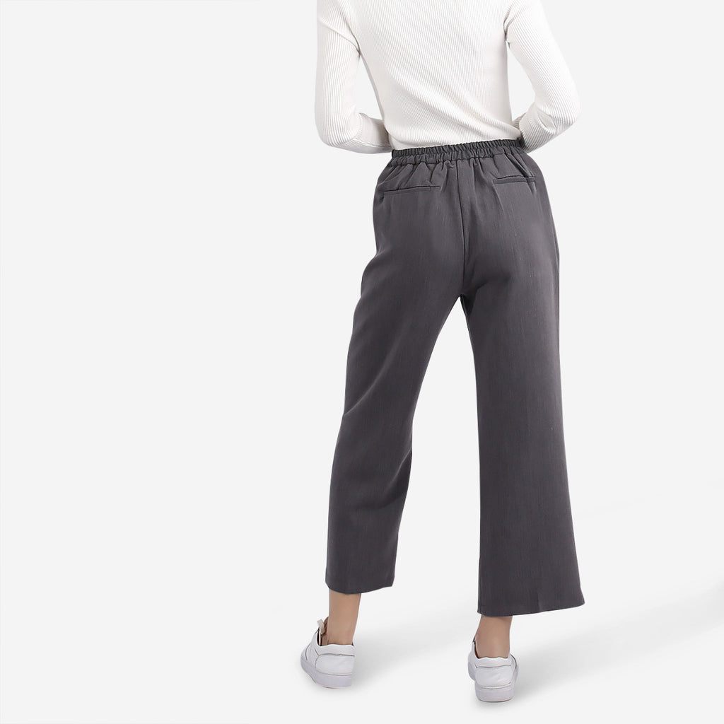 Grey Straight Cut Wide Leg Pants