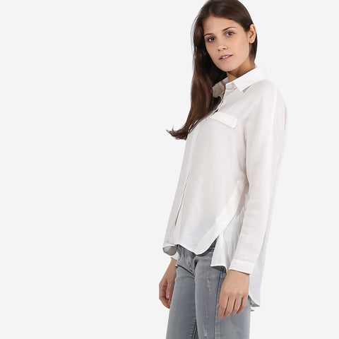 Pearl White Side Button Hem Top