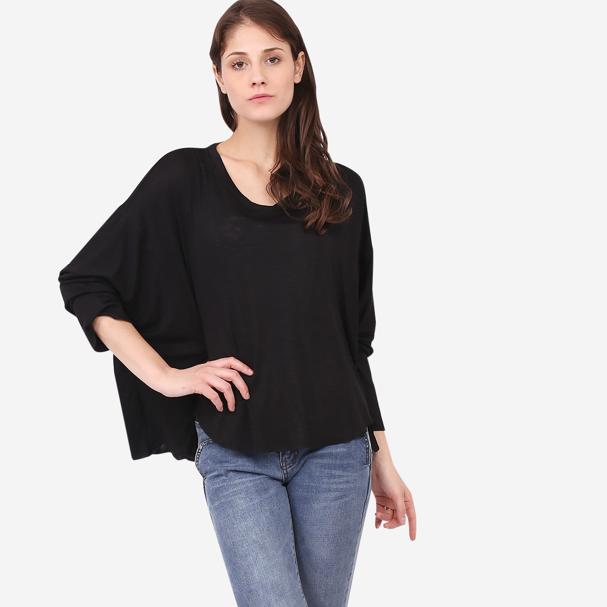 Black Relaxed Knit Top with Seam Details