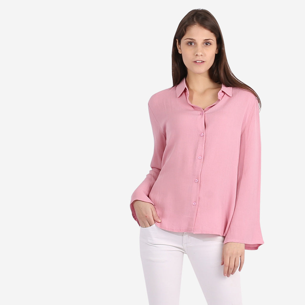 Pink Flared Sleeve Blouse