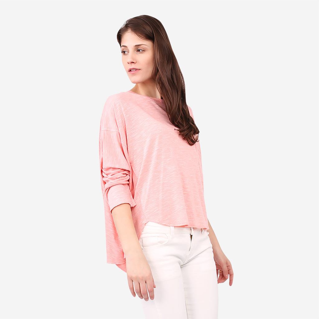 Peach Relaxed Knit Top with Seam Details