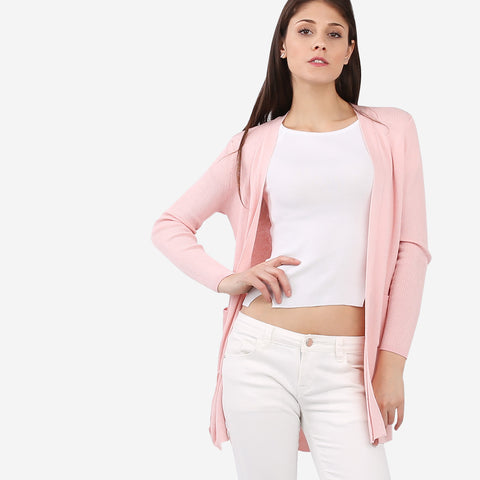 Pink Side Slits Cardigan