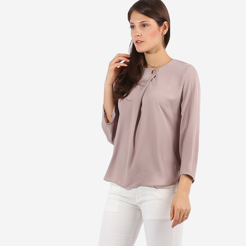 Beige Top with Button Detail