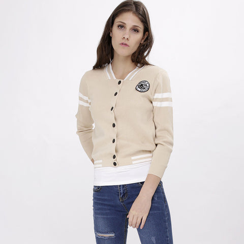 Beige Varsity Sweater Jacket