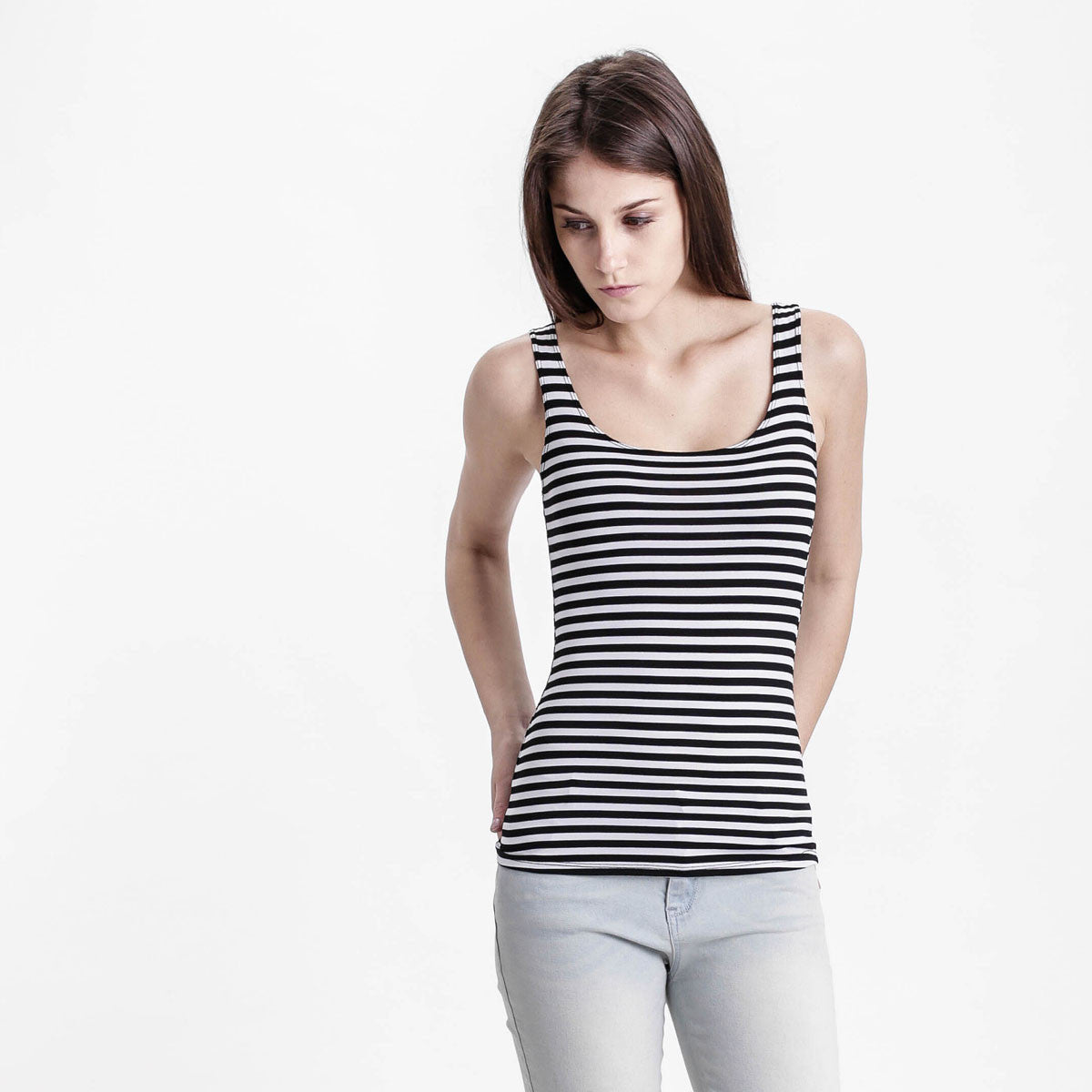 White Striped Tank