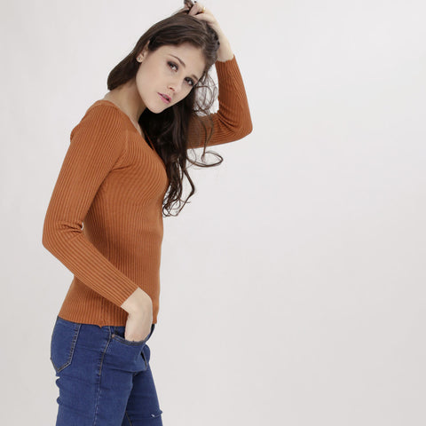 Vanesa Brown Knitted Top