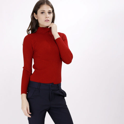 Valerie Maroon Knitted Turtleneck Top