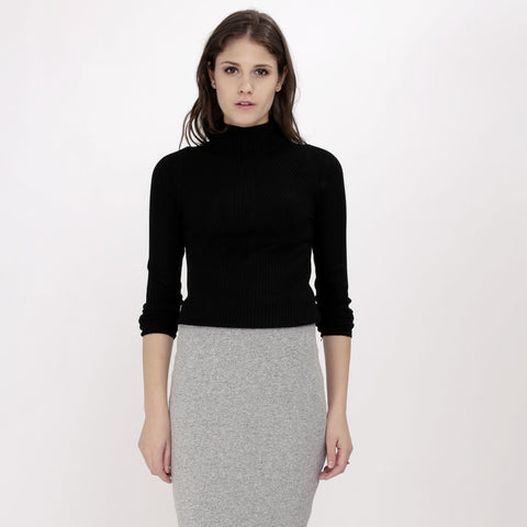 Valerie Black Knitted Turtleneck Top
