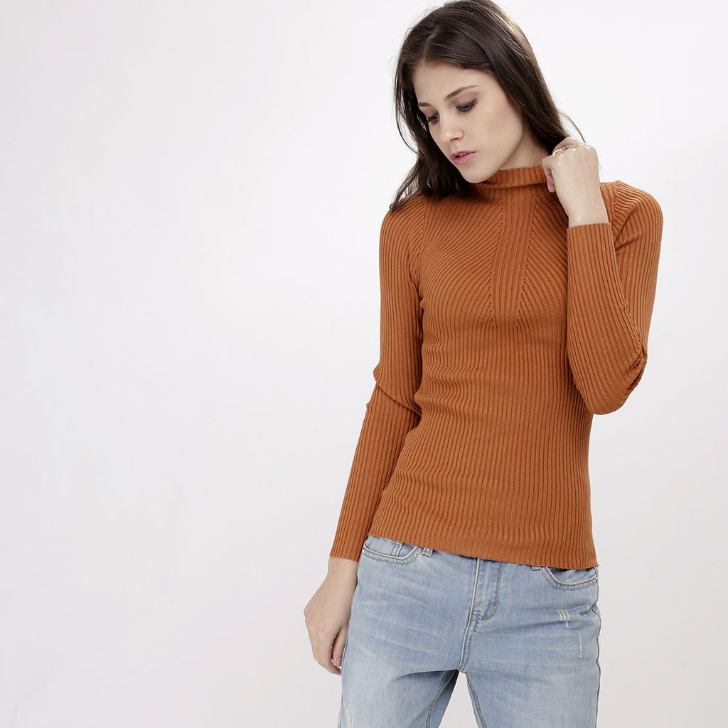 Valerie Brown Knitted Turtleneck Top