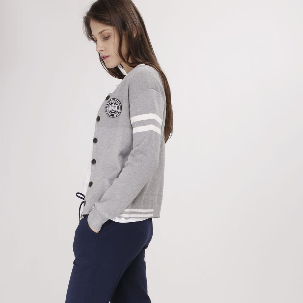 Grey Varsity Sweater Jacket