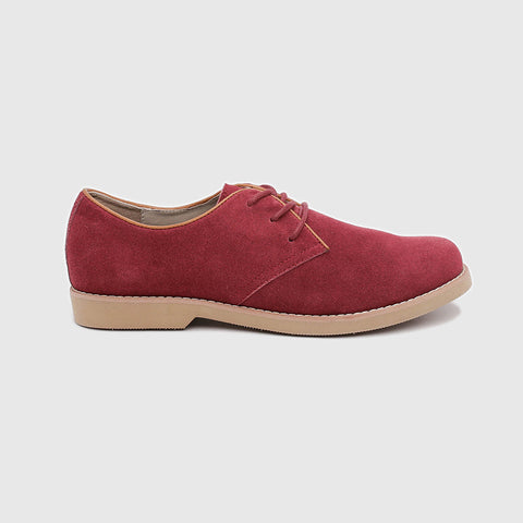 Maroon Suede Oxford Shoes
