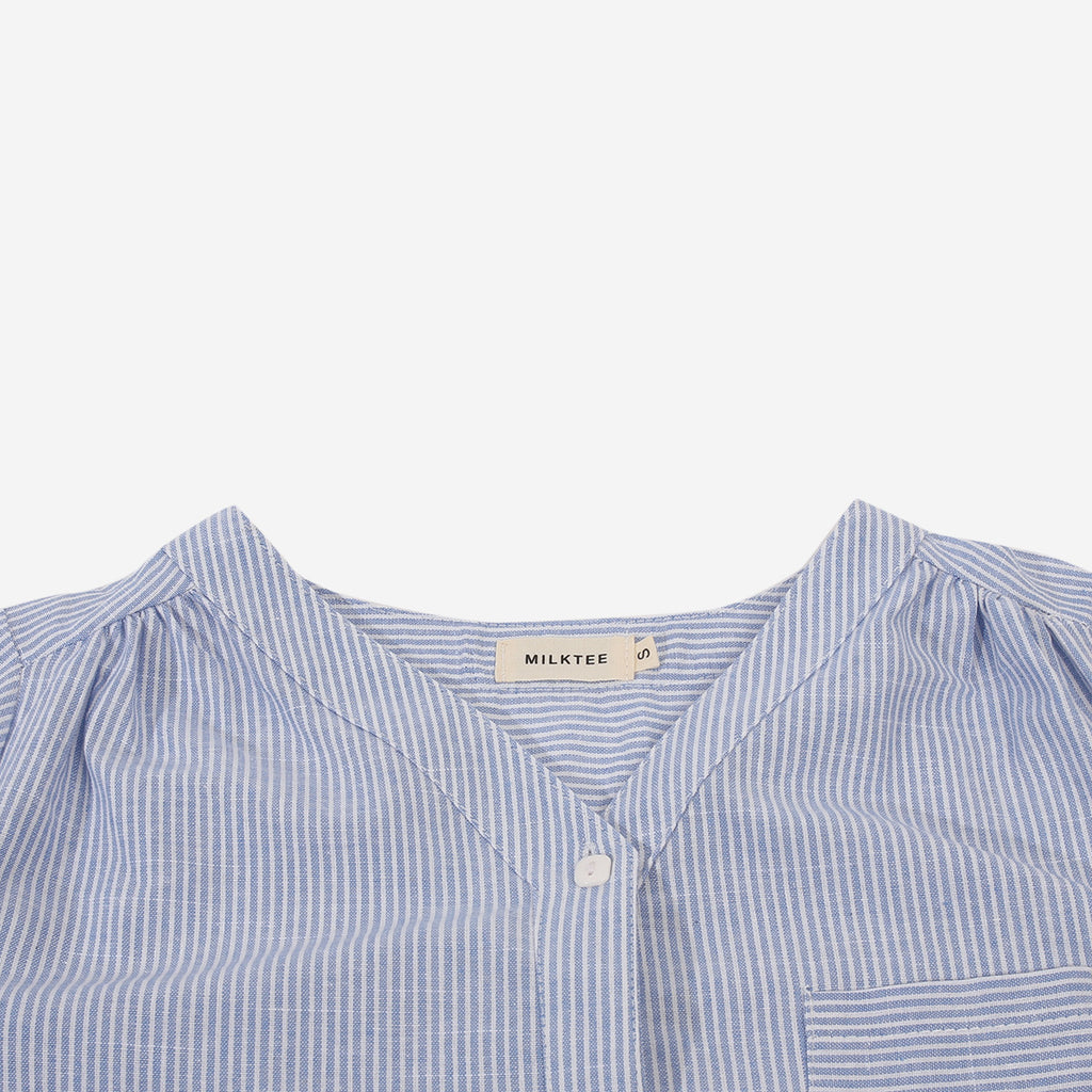 Blue Striped Blouse With Pocket