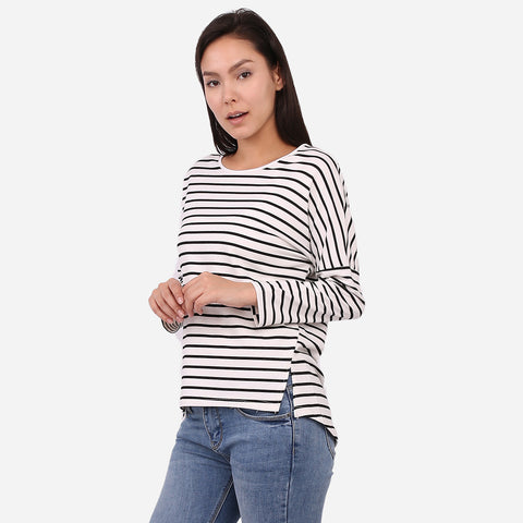 White Stripe Front Slits Top