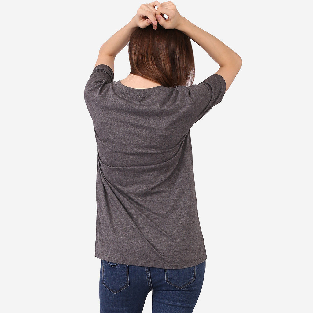 Grey Melange Short Sleeve Top