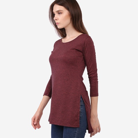 Maroon Melange Long Top