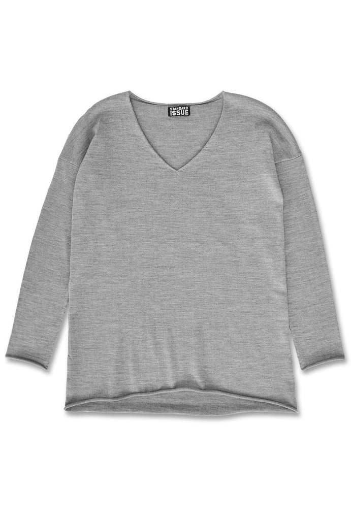 Standard Issue Roll Trim Sweater Ash Marle