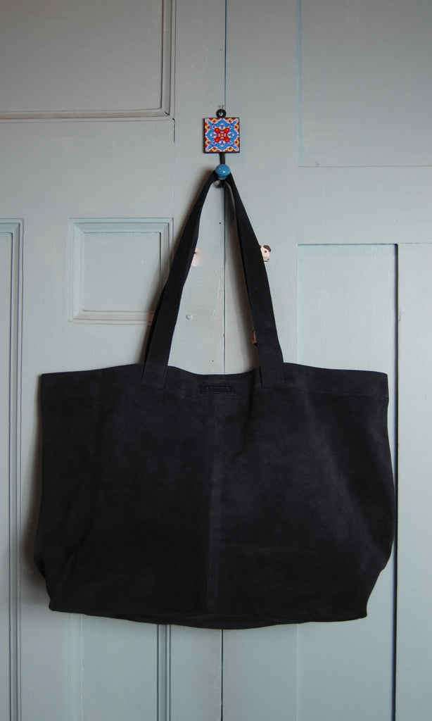 COTERIE Suede Tote Medium Black