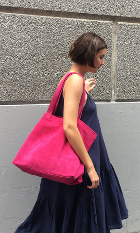COTERIE Suede Tote Medium Fuschia