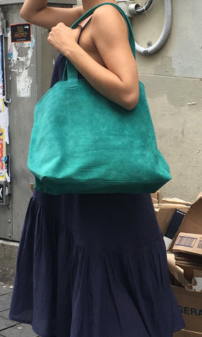 COTERIE Suede Tote Medium Teal