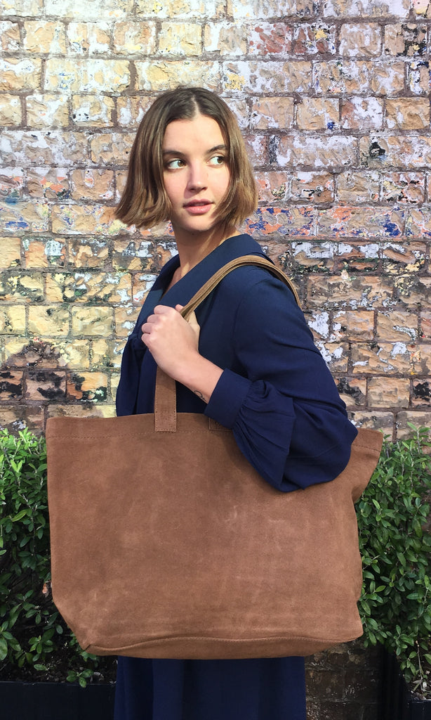 COTERIE Suede Tote Medium Nutmeg