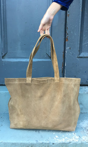 COTERIE Suede Tote Medium Tan