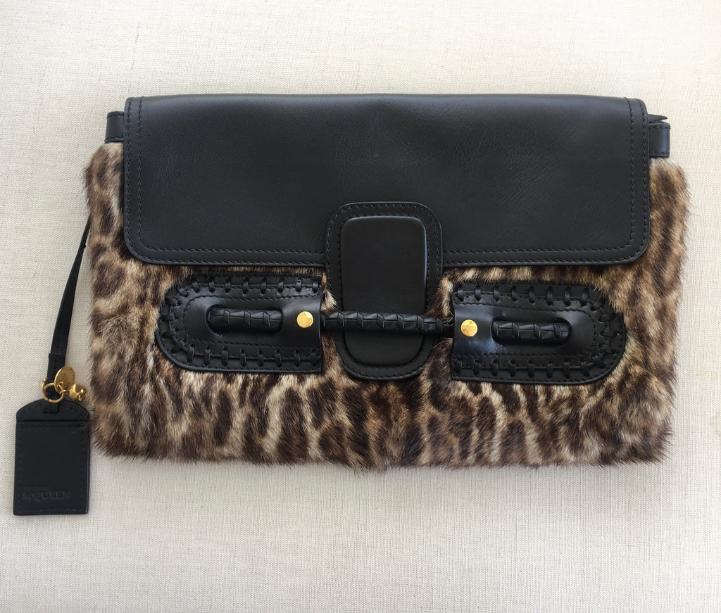 McQueen Clutch - Faux Fur & Leather