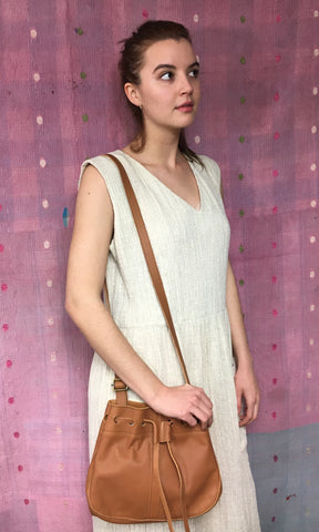 COTERIE Leather Bucket Bag Medium Dark Tan