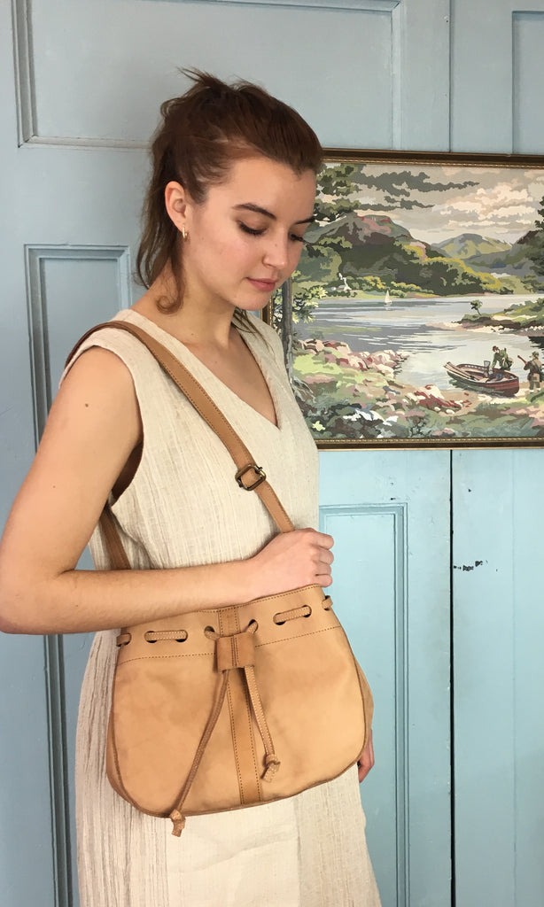 COTERIE Leather Bucket Bag Medium Light Tan