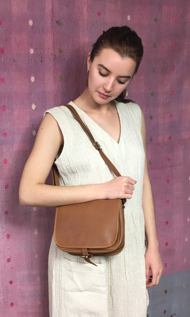 COTERIE Leather Cross Body Dark Tan