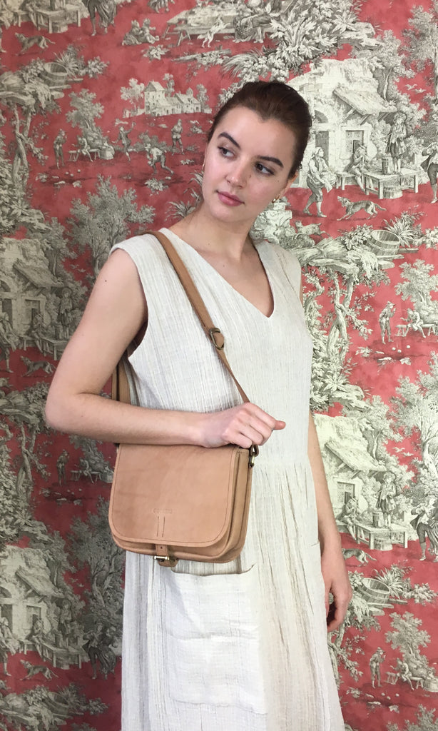 COTERIE Leather Cross Body Light Tan