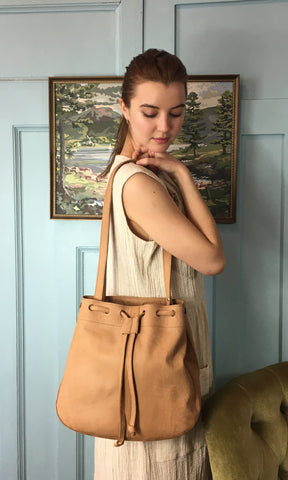 COTERIE Leather Bucket Bag Large Light Tan