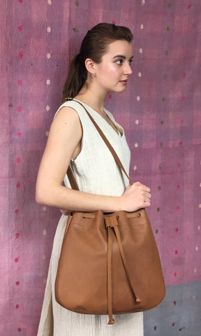 COTERIE Leather Bucket Bag Large Dark Tan