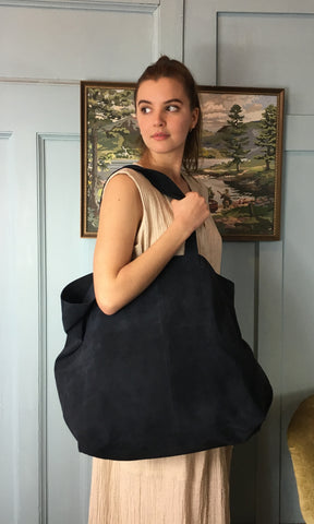 COTERIE Suede Tote Large Navy