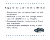 Suggested care instructions for washing Wishy-Washy Cloth Reusable Pads